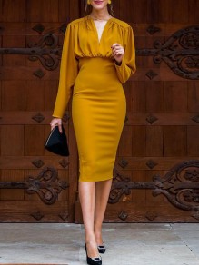 Turmeric Yellow V-neck Long Sleeve Bodycon Fashion Elegant Formal Midi Dress