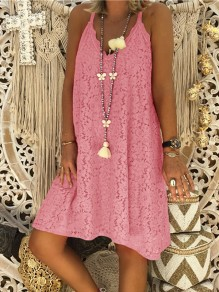 Pink Lace Floral Fashion Sweet Comfy One Piece mini dress