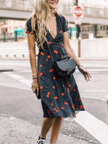 Navy Blue Cherry Print Deep V-neck Short Sleeve Fashion Sweet Midi Dress