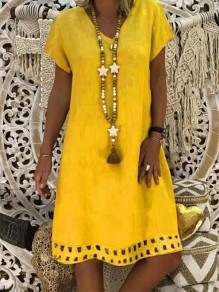 Yellow Cut Out Going out Comfy Sweet Fashion One Piece Maxi Dress