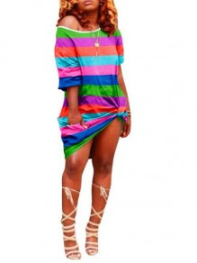 Green Rainbow Striped Irregular One-Shoulder Half Sleeve Jamaica Rasta Casual Midi Dress