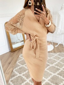 Khaki Fashion Comfy Going out One Piece Midi Dress