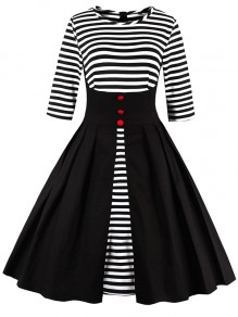 Black Striped Single Breasted Short Sleeve U-neck Fashion Midi Dress
