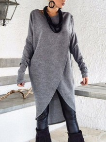 Grey Fashion Comfy Going out One Piece Midi Dress