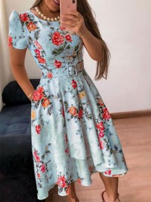 Blue Floral Belt Round Neck Short Sleeve Fashion Midi Dress