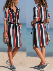 Black Striped Lace Up Long Sleeve Going Out Midi Dres
