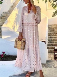 Pink Polka Dot Ruffle Chiffon V-neck Long Sleeve Fashion Midi Dress