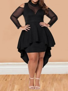Black Irregular Ruffle Cut Out High-low Peplum Plus Size Midi Dress
