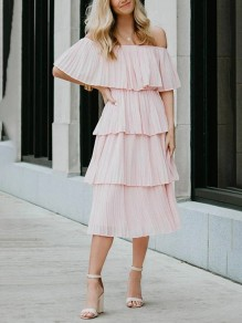 Pink Patchwork Layers Of Pleated Boat Neck Fashion Midi Dress