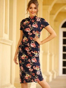 Navy Blue Floral Pattern Mandarin Collar Short Sleeve Fashion Midi Dress