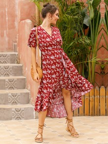 Red Floral Irregular Draped V-neck Short Sleeve Fashion Midi Dress