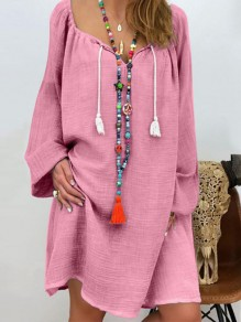 Pink Drawstring Bodycon Comfy V-neck Long Sleeve Going out Midi Dress