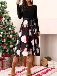 Black Santa Claus Floral Sashes Bow Long Sleeve Fashion Midi Dress