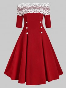 Red Patchwork Lace Boat Neck Elbow Sleeve Sweet Midi Dress