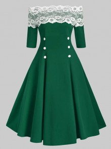 Green Patchwork Lace Boat Neck Elbow Sleeve Sweet Midi Dress
