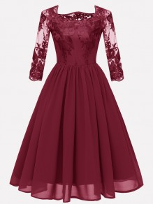 Burgundy Patchwork Embroidery Round Neck 3/4 Sleeve Vintage Midi Dress