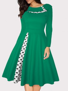 Green Polka Dot Buttons Long Sleeve Big Swing Vintage Midi Dress
