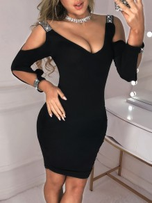 Black Rhinestone Cut Out Backless V-neck Long Sleeve Cocktail Party Midi Dress