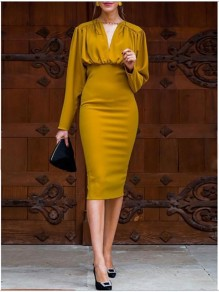 Mustard Yellow Ruffle V-neck High Wasited Long Sleeve Elegant Midi Dress