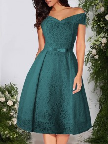 Green Patchwork Lace Bow Off Shoulder Short Sleeve Party Midi Dress