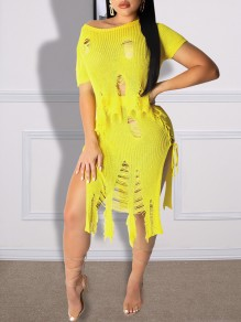 Yellow Ripped Destroyed Off Shoulder Short Sleeve Two Piece Drawstring Lace-up Bikini Cover Up Beach Midi Dress