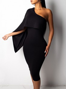 Black Asymmetric Shoulder One Sleeve Bodycon Work Formal Midi Dress