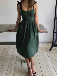 Green Bow Pleated Lace-up Sleeveless Cocktail Party Midi Dress