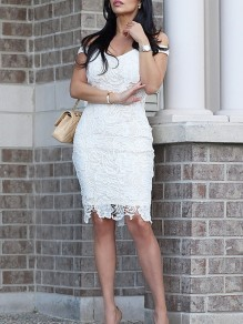 White Patchwork Lace Off Shoulder Short Sleeve Elegant Midi Dress