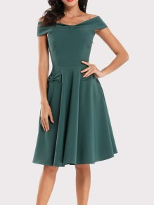 Green Bow Draped Off Shoulder Short Sleeve Vintage Midi Dress