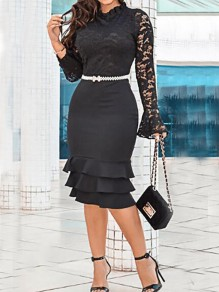 Black Floral Lace Cascading Ruffle Bodycon Elegant Banquet Party Midi Dress