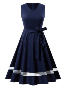 Navy Blue Bow V-neck Sleeveless A-Line Vintage Midi Dress