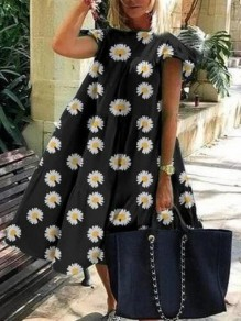 Black Daisy Pattern Draped Short Sleeve Holiday Midi Dress