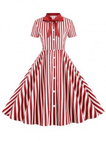 Red White Striped Bow Button Short Sleeve Elegant Maxi Dress
