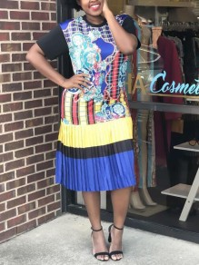Blue Floral Pleated Short Sleeve Jamaica Plus Size Casual Midi Dress