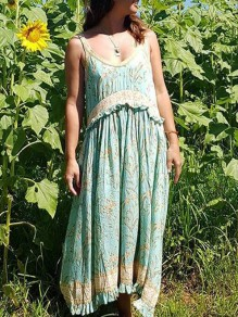 Green Floral Print Ruffle Shoulder Strap Round Neck Sleeveless Vintage Bohemian Midi Dress