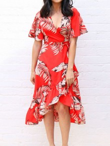 Red Palm Leaves Print High-Low V-neck Short Sleeve Bohemian Beach Midi Dress