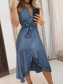 Blue High-low Sashes Ruffle V-neck Sleeveless Fashion Denim Mini Dress
