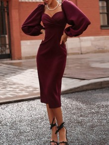 Wine Red Bodycon V-neck Lantern Long Sleeve Elegant Midi Dress