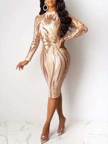 Apricot Patchwork Sequin Grenadine Band Collar Long Sleeve Bodycuit Sheer Clubwear Glitter Sparkly Birthday Party Midi Dress