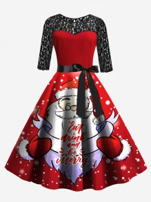 Red Patchwork Lace Bow Sashes Round Neck Christmas Party Santa Claus Midi Dress