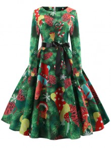 Green Christmas Tree Print Round Neck Long Sleeve Elegant Midi Dress