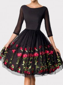 Black Floral Grenadine Rose Embroidery Pleated Round Neck Vintage Mexican Prom Midi Dress