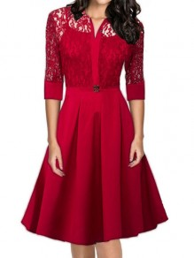 Red Lace A-Line V-neck Elbow Sleeve Homecoming Party Elegant Midi Dress
