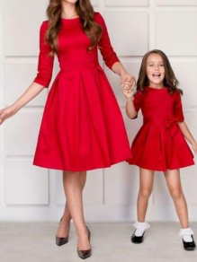 Red Draped Half Sleeve High Waisted Skater Tutu Homecoming Party Midi Dress