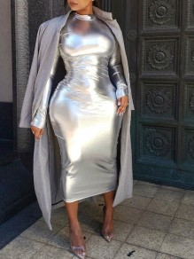 Metallic Silver Band Collar Long Sleeve Hip Bodycon Clubwear Midi Dress