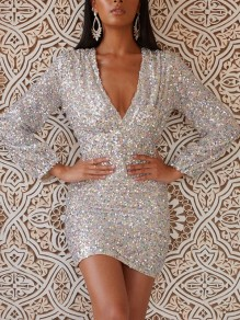 Silver Patchwork Sequin Bodycon V-neck Sparkly Glitter Birthday Party Mini Dress