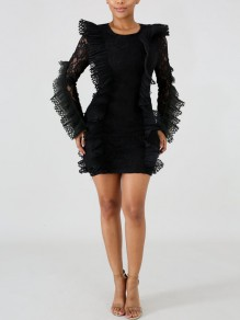 Black Patchwork Lace Cascading Ruffle Bodycon Round Neck Long Sleeve Party Mini Dress