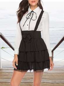 Black Patchwork Bow Cascading Ruffle Turndown Collar Vintage Mini Dress