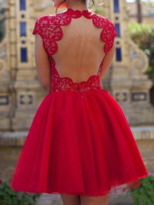 Red Patchwork Lace Grenadine Pleated Backless Short Sleeve Elegant Mini Dress