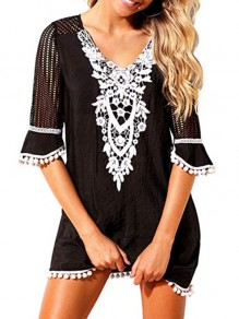 Black Embroidery Tassel V-neck Bohemian Beach Cover Up Summer Mini Dress